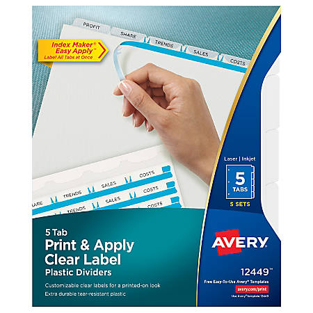 Avery Print Apply Clear Label Translucent Plastic Dividers With