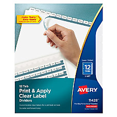 Avery Index Maker Easy Apply Clear