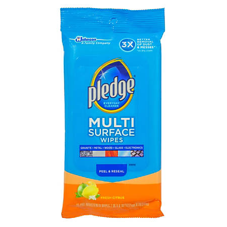 Pledge® Multi-Surface Clean & Dust Wipes, Box Of 25 Wipes