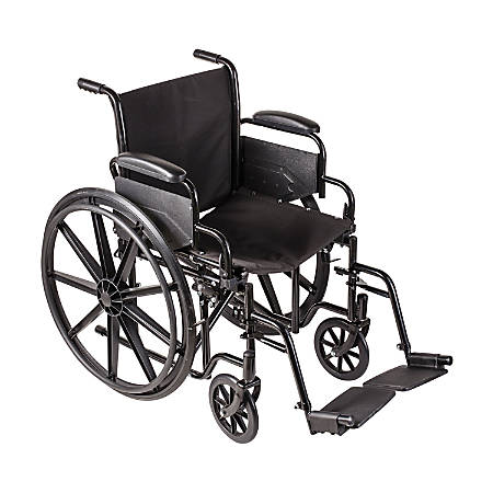 "DMI® Carbon-Steel Folding Wheelchair, 37""H x 26""W x 18""D, Silver/Black"
