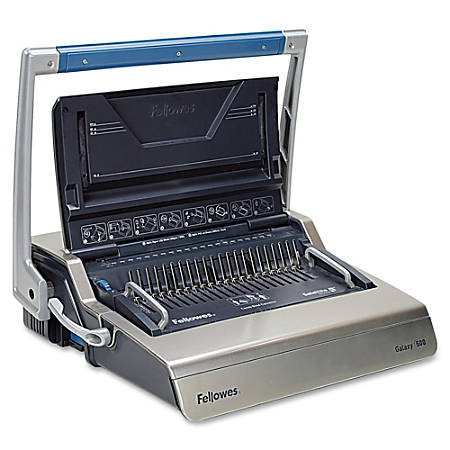 Fellowes® Galaxy Comb Manual Binding Machine, Metallic Silver/Black