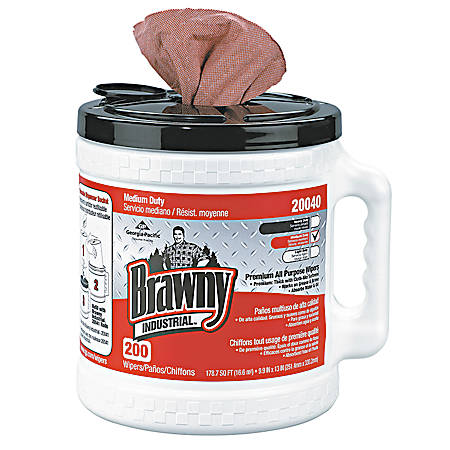 Brawny Professional D400 Disposable Cleaning Towels, Canister Of 200