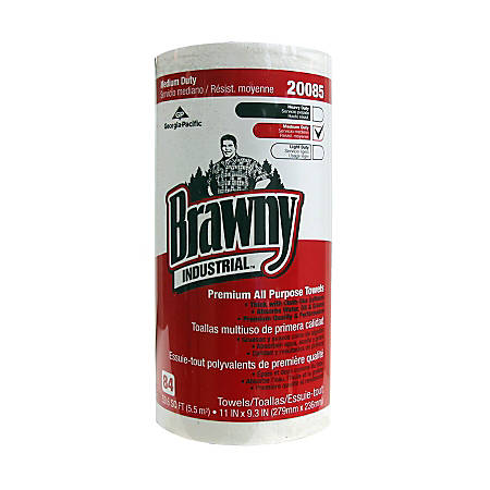 Brawny® Professional D300 Perforated Paper Towels, White, 84 Sheets Per Roll, Case Of 20 Rolls