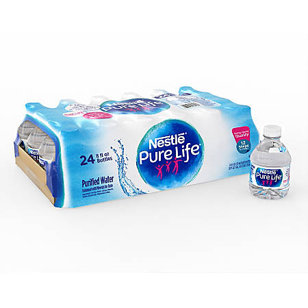 Nestlé® Pure Life Purified Bottled Water, 8 Oz, Case Of 24 Bottles Item #  595347