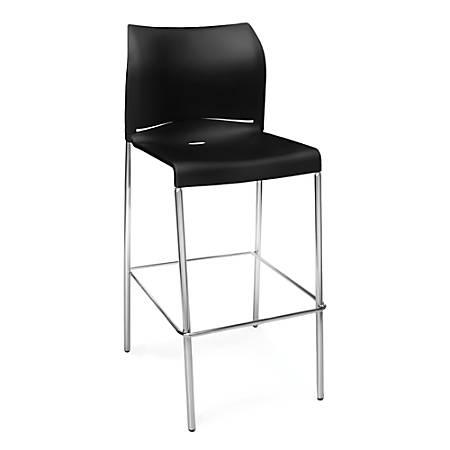 OFM Essentials Plastic Café Bar Stools, Black/Chrome, Set Of 2
