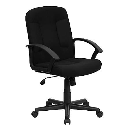 Flash Furniture Fabric Mid-Back Swivel Chair, Black