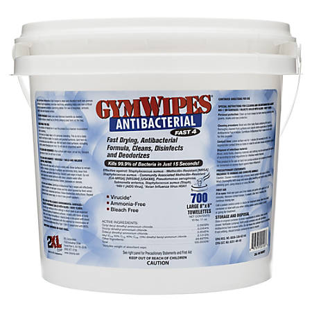 """2XL Antibacterial GymWipes, Unscented, 6"""" x 8"""", White, Bucket Of 700"""
