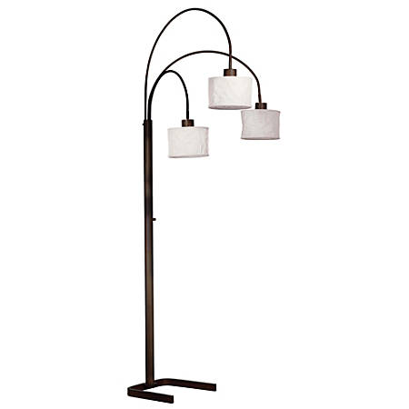 "Kenroy Home Crush Arc Floor Lamp, 81-1/2""H, White Shade/Oil-Rubbed Bronze Base"