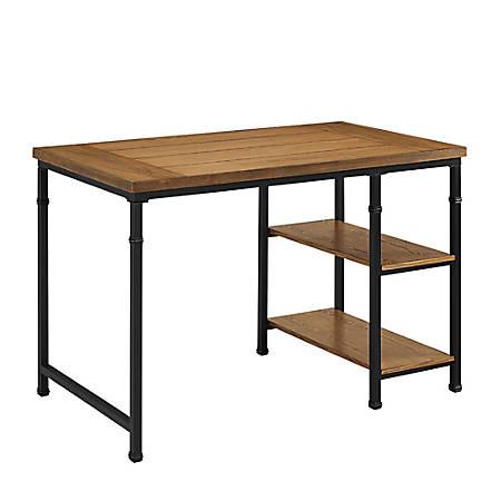 Linon Anson 2-Shelf Desk, Black/Ash