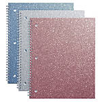 """Office Depot® Brand Glitter 3-Hole-Punched Notebook, 8"""" x 10 1/2"""", Wide Ruled, 160 Pages (80 Sheets), Assorted Colors"""