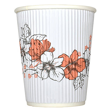 Hotel Emporium Floral Ripple Hot Cups, 8 Oz, 100% Recycled, White, Pack Of 500 Cups