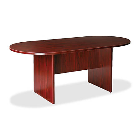 "Lorell® Essentials Oval Conference Table, 72""W, Mahogany"