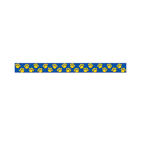 """Teacher Created Resources Border Trim, 3"""" x 35"""", Blue With Gold Paw Prints, Pre-K - College, Pack Of 12"""