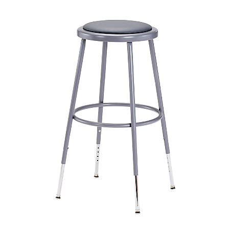 "National Public Seating Adjustable Vinyl-Padded Stool, 25 - 32 1/2""H, Gray"