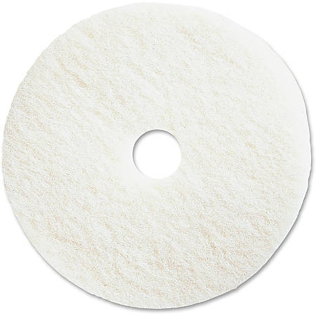 "Genuine Joe Polishing Floor Pad - 13"" Diameter - 5/Carton x 13"" Diameter x 1"" Thickness - Resin, Fiber - White"