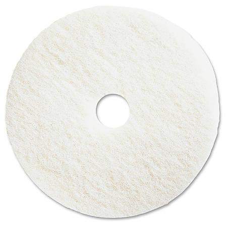 "Genuine Joe Polishing Floor Pad - 13"" Diameter - 5/Carton x 13"" Diameter x 1"" Thickness - Resin, Fiber - White"