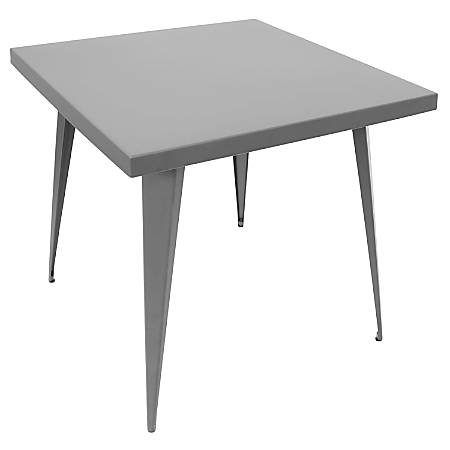 Lumisource Austin Industrial Dining Table, Square, Matte Gray