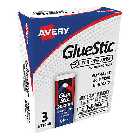 Avery® Disappearing Color Glue Stics For Envelopes, 0.26 Oz, Purple, Pack Of 3