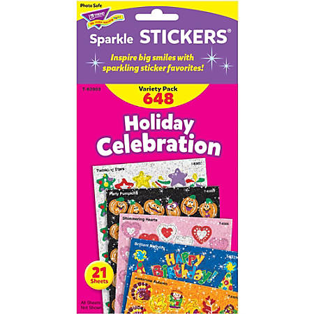 Trend Holiday Celebration Little Sparkler Stickers - Fun Theme/Subject (Sparkle Stars, Pumpkin, Smilies, Heart) Shape - Self-adhesive - Acid-free, Fade Resistant, Non-toxic, Photo-safe - Multicolor - 648 / Pack