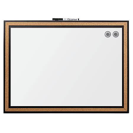 "Quartet® Magnetic Dry-Erase Whiteboard, Steel, 17"" x 23"", Cork Frame"