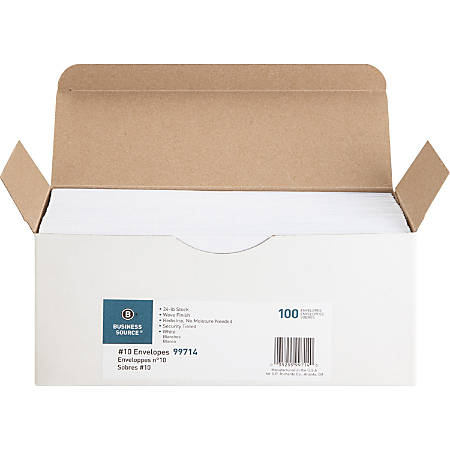 Business Source No. 10 Peel-to-seal Security Envelopes - Business - #10 - 24 lb - Peel & Seal - Wove - 100 / Box - White