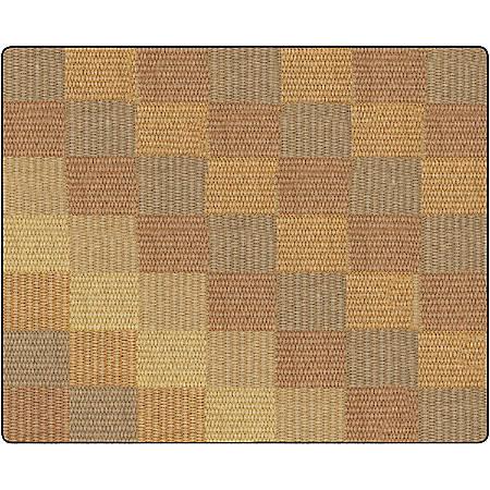 Flagship Carpets Basketweave Blocks Classroom Rug, 10 1/2' x 13 3/16', Brown