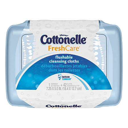 Cottonelle Fresh Care Flushable Cleansing Cloths, White, Pack Of 42