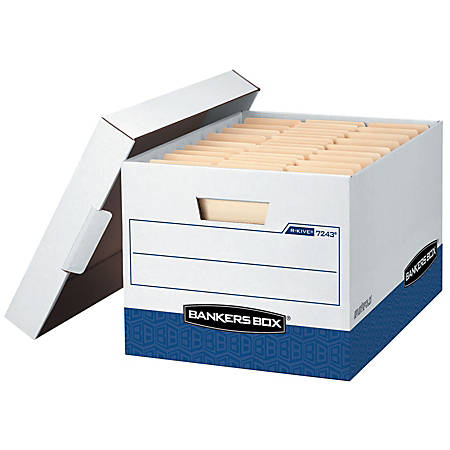 "Bankers Box® R-Kive® Heavy-Duty Storage Boxes, Letter/Legal Size, 10""H x 12""W x 15""L, White/Blue, Pack Of 20"
