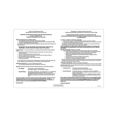 """ComplyRight State Specialty Poster, English/Spanish, New York, Construction Industry Fair Play Act, 11"""" x 17"""""""