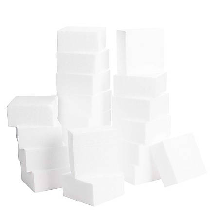 Craft Foam Block - 20-Pack Polystyrene Foam Square, Smooth Craft Bricks, Rectangle Foams, For Sculpture, Modeling, DIY Arts And Crafts, Kids Class, Floral Arrangement, 4 X 4 X 2 Inches