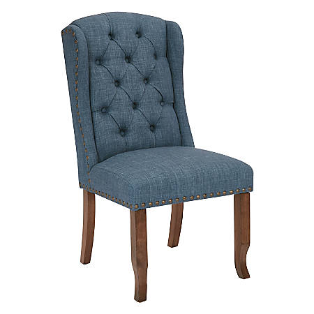 Ave Six Jessica Tufted Wing Chair, Navy/Coffee