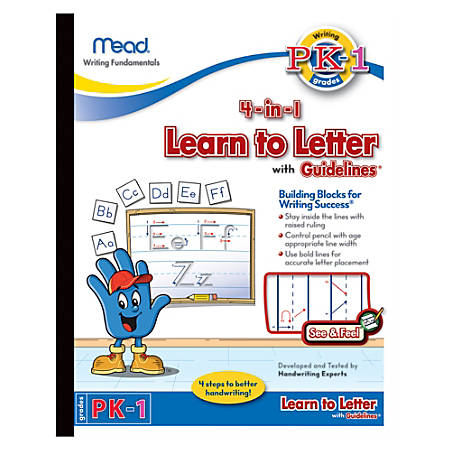 """Mead® Academie Jr.™ Learn To Letter With Guidelines Tablet, 8"""" x 10"""", 40 Sheets"""