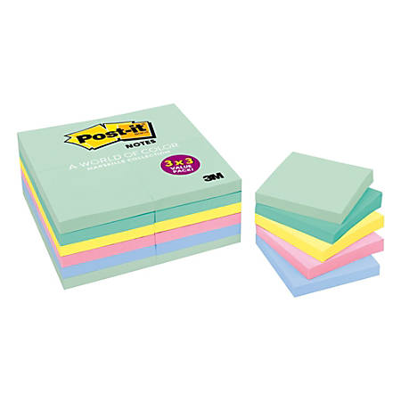 "Post-it® Notes, 3"" x 3"", Marseille Color Collection, Pack Of 24 Pads"