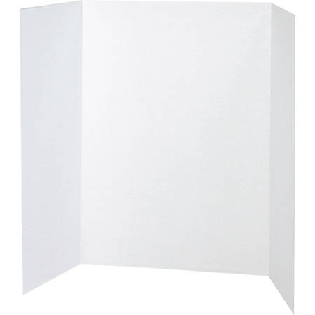 "Pacon® 80% Recycled Single-Walled Tri-Fold Presentation Boards, 48"" x 36"", White, Carton Of 24"