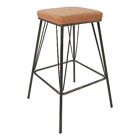 """Ave Six Mayson 26""""H Polyester Counter Stools, Sand/Gunmetal, Set Of 2 Stools"""