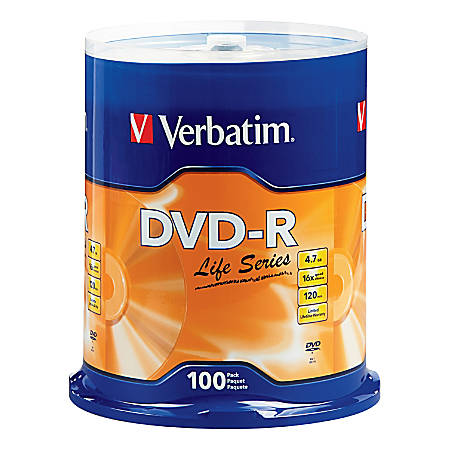 Verbatim® Life Series DVD-R Disc Spindle, Pack Of 100