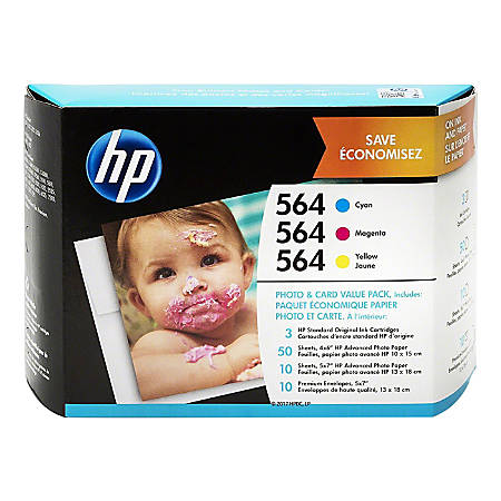 HP 564 Cyan/Magenta/Yellow Original Ink Cartridges With Photo Paper And Envelopes (J2X80AN), Pack Of 3