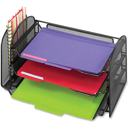 "Safco Onyx 1 Upright/3 Tray Mesh Desk Organizer - 1 Pocket(s) - 8"" Height x 17.3"" Width x 9"" Depth - Desktop - Black - 1Each"