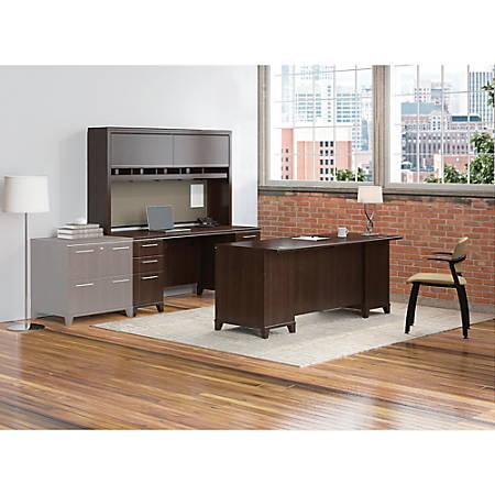 "Bush Business Furniture Enterprise 72""W Office Desk With Hutch And Credenza, Mocha Cherry, Standard Delivery"