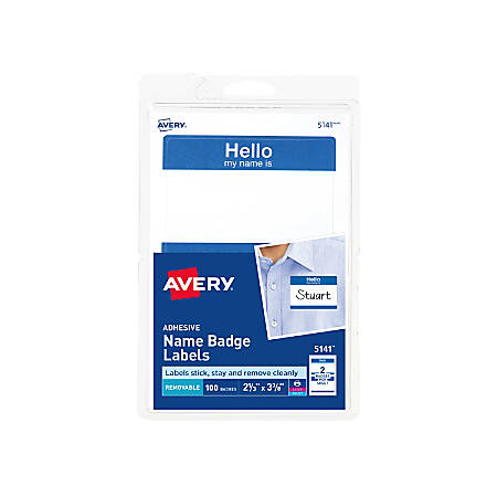 avery self adhesive name badges hello my name is blue 2 labels per 4