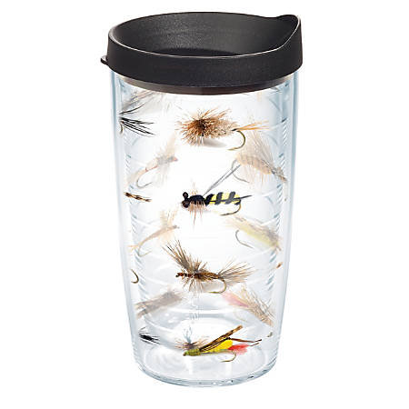 Tervis Fish Flies Tumbler With Lid, 16 Oz, Clear