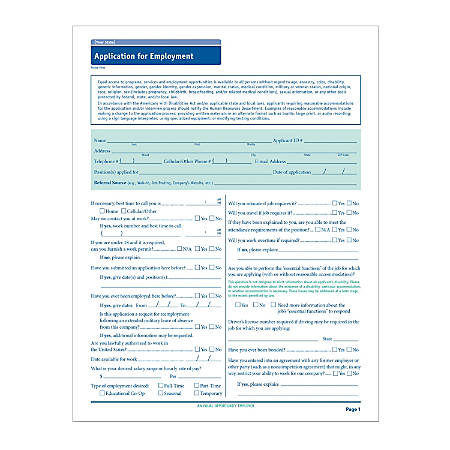 """ComplyRight State-Specific Job Applications, Delaware, 17"""" x 11"""", White, Pack Of 50"""