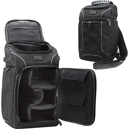 USA Gear GRSLS15100BKEW Carrying Case (Backpack) Camera, Lens, Memory Card, Accessories, Cable, Accessories - Black - Weather Resistant, Drop Resistant Interior, Ding Resistant Interior, Scratch Resistant - Nylon - Shoulder Strap
