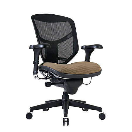 WorkPro® Quantum 9000 Series Ergonomic Mid-Back Mesh/Fabric Chair, Black/Beige