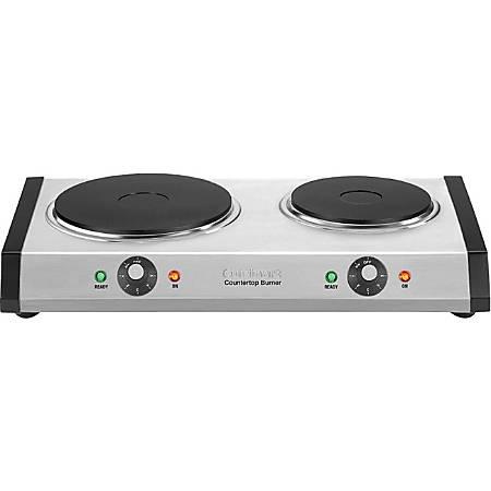 Cuisinart Countertop Double Burner - 2 x Burner - Brushed Stainless Steel Housing, Cast Iron Plate, Rubber Feet