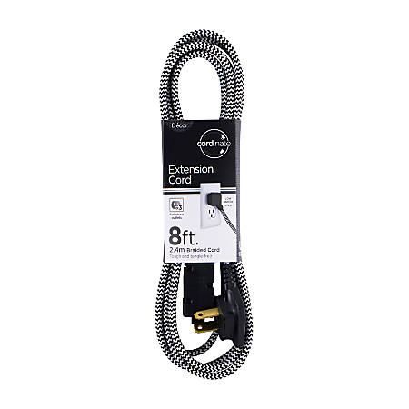 Cordinate Braided 3-Outlet Indoor Extension Cord, 8', Black/White, 39984-T1