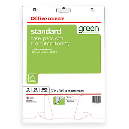 """Office Depot® Brand 40% Recycled Bleed-Resistant Easel Pads, 27"""" x 32"""", Plain White Paper, 50 Sheets, Box Of 2"""