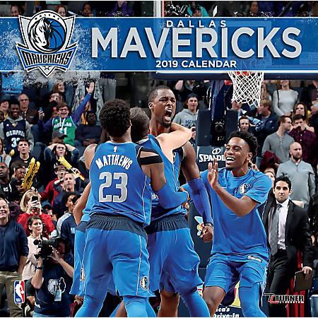 "Turner Sports Monthly Wall Calendar, 12"" x 12"", Dallas Mavericks, January to December 2019"