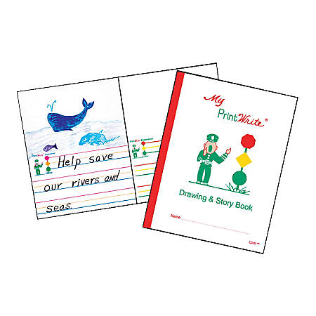 """Kurtz Bros. PrintWrite® Drawing & Story Books, 8 1/2"""" x 11"""", 32 Pages (16 Sheets), White, Pack Of 10"""