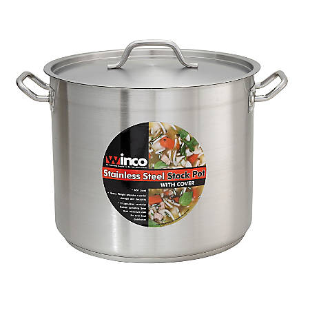 Winco Stainless-Steel Stock Pot With Lid, 8 Qt, Silver